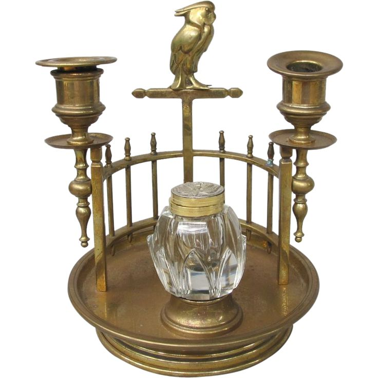 This deliciously Deco Brass Cockatoo Inkwell Candleholder can be found in the Ruby Lane shop Antique Beak.