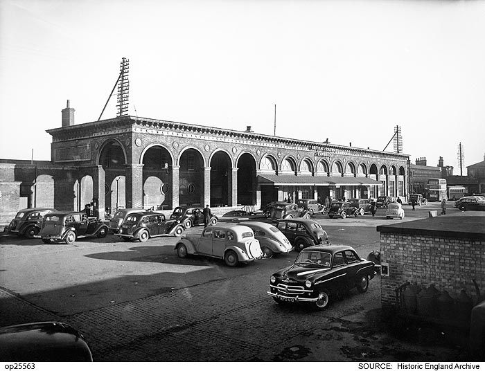 OP25563 The Italianate entrance front of Cambridge Station.    Date 	1950 - 1960