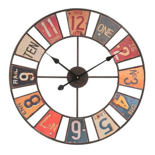 Horloge en métal multicolore D 60 cm AMERICAN  Vintage