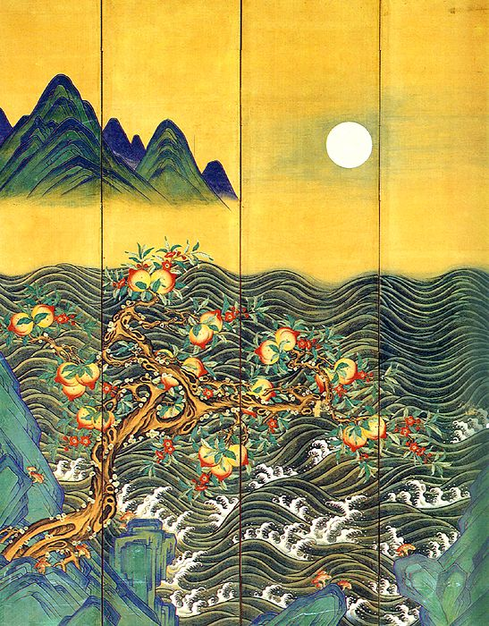Eight-Fold Screen Painting of the Sun, Moon and Peach Trees, unknown Korean artist, 19th century