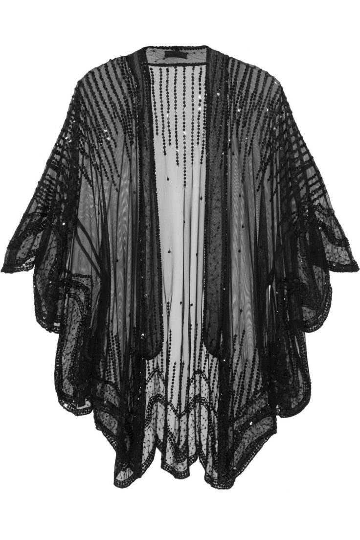 Anna Sui | Sequin-embellished tulle kimono-style jacket #lingerie #black #kimono