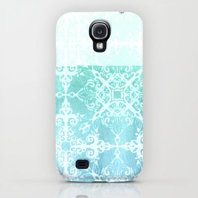 Mermaid's Lace - White Patterned Aqua / Mint Watercolor Wash iPhone & iPod Case $35.00