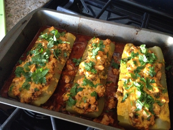 Chicken Enchilada Stuffed Zucchini Boats | Recipe