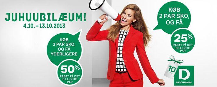 Deichmann fejrer juhubilæum med op til 50 % rabat.  Få endnu højere rabat: + 6 % medlemsfordel  Gratis medlemskab og ingen forpligtelser er blandt de mange fordele gæsterne har, når de tilmelder sig hos Mekonomen Autoteknik - ES Motor, www.es-motor.dk/faa-rabat.html