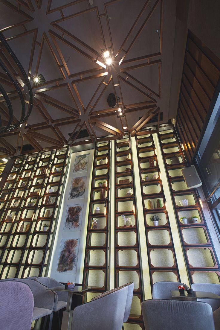 Bo Cafe Florina #interior #design #EpilisisStudio #cafe #bar #industrial #bookcase #ceiling