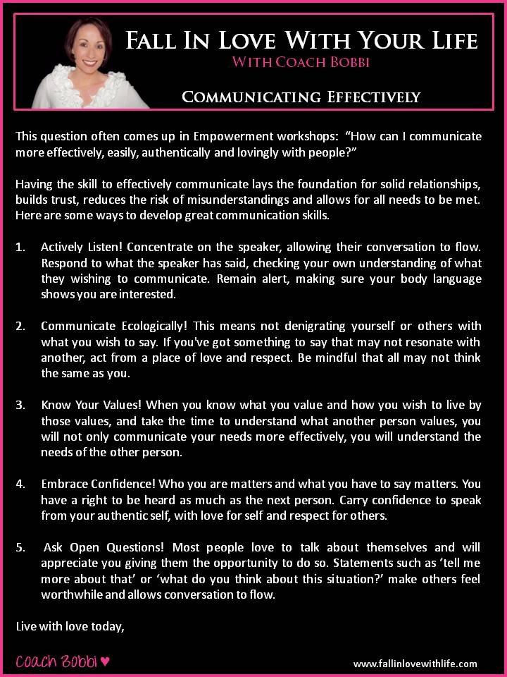 Communicating Effectively  © Ask Coach Bobbi