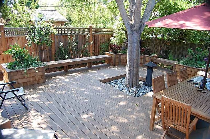 Timbertech deck benching redwood planters around tree for Redwood deck plans