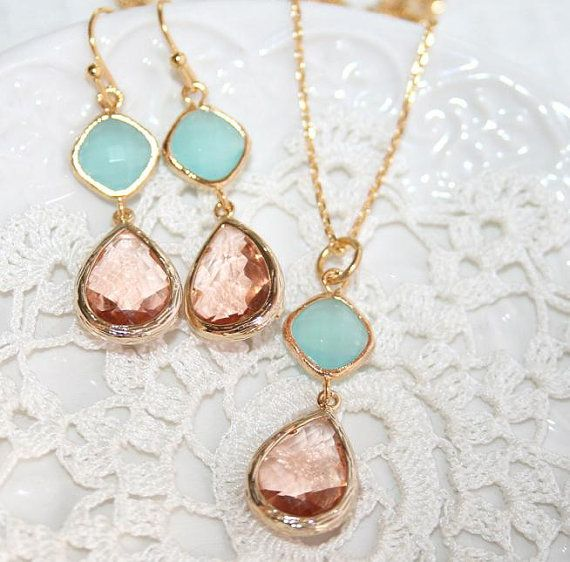 Pink Champagne and Mint Wedding Gold Earrings Peach by AngelPearls, $29.50