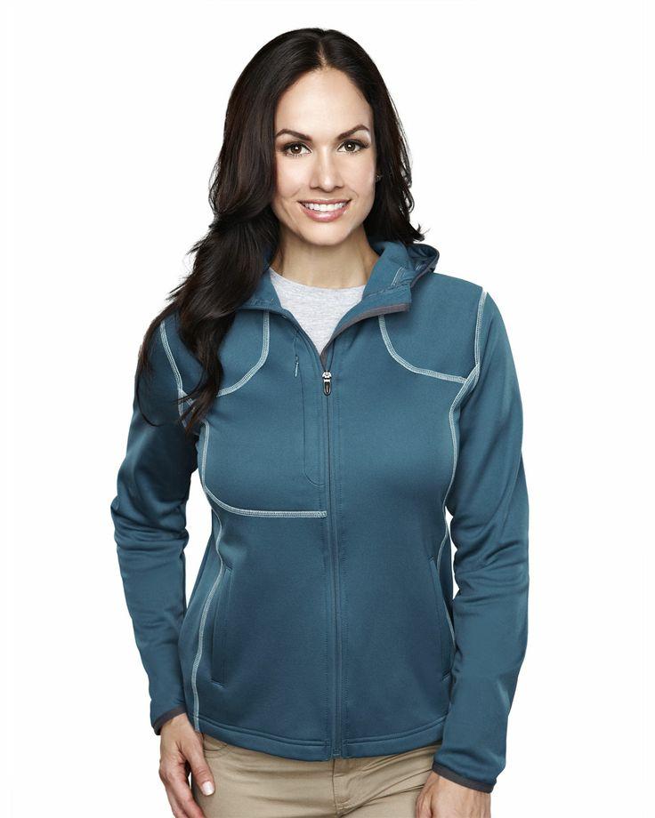 Women's Micro Fleece Long Sleeve Ultra Cool #Jacket With #Hood (100% Polyester). Tri mountain 7382