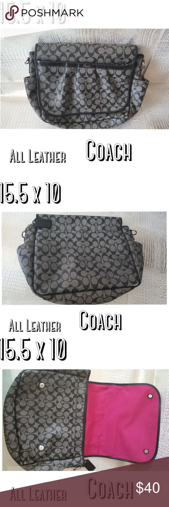 Coach Diaper bag signature print crossbody Coach diaper bag  baby work bag crossbody minor wear  Long strap included inside of bag  Pad not included  Was used as a work bag lots of pockets  Minor wear on corners  Please see pics   Pre owned condition *******All items are in pre owned condition, Nothing, unless noted , is brand new **** please ask questions Coach Bags Baby Bags