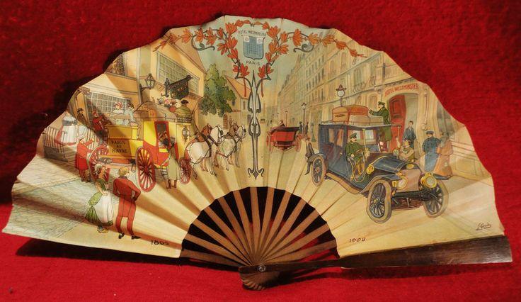 ANTIQUITE-PUB 1909-HOTEL WESTMINSTER PARIS EVENTAIL ART NOUVEAU-DESSIN-L GANDO