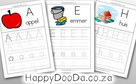 Happy Doo-Da Afrikaans Alfabet Prentjie Werkskaarte