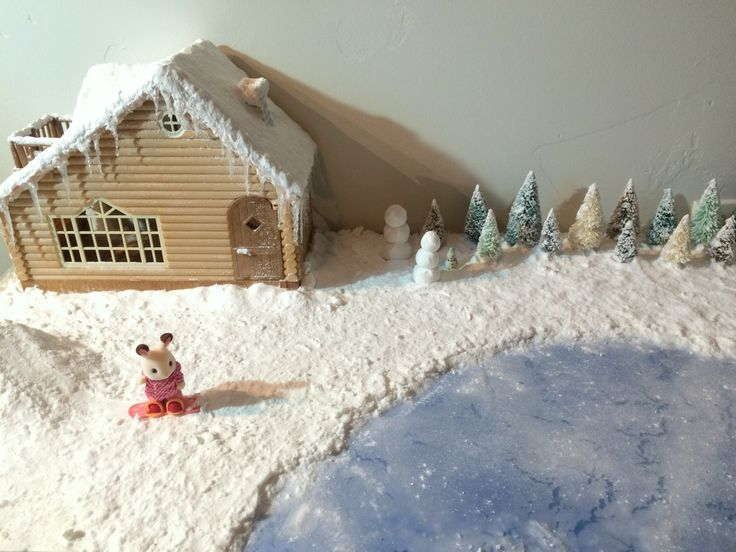 snowy diorama tutorial for calico critters/ sylvanian families