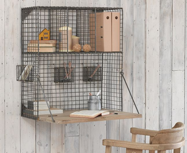 Birdie, our compact organiser with its gorgeous gunmetal finish wire shelving and nifty drop down desk, is the answer to every neat freak's prayers.