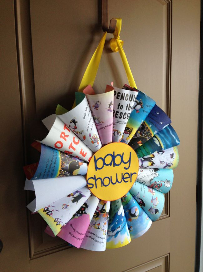 Cute Ideas For Book Baby Shower! (Love This Wreath Too!)