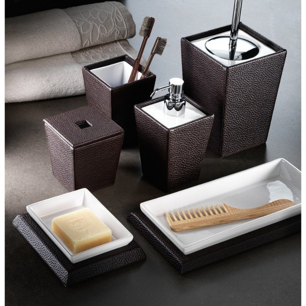 Beautiful Kyoto Leather Freestanding Bathroom Accessories Kyoto Leather  (Wenge Faux Leather U0026 Ceramic) Bathroom Accessory Set Includes: Soap Dish  Comb ...
