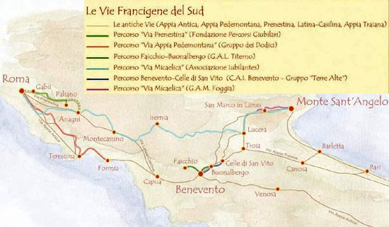 Vari percorsi delle Vie Francigene nel Sud sul tratto Roma, Benevento,Monte Sant'Angelo, Bari