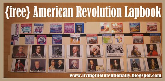Revolutionary War  - Hands on history unit for homeschool kids! This 4 week unit includes lots of hands on projects and a FREE Revolutionary War Lapbook to keep track of important people and American timeline.