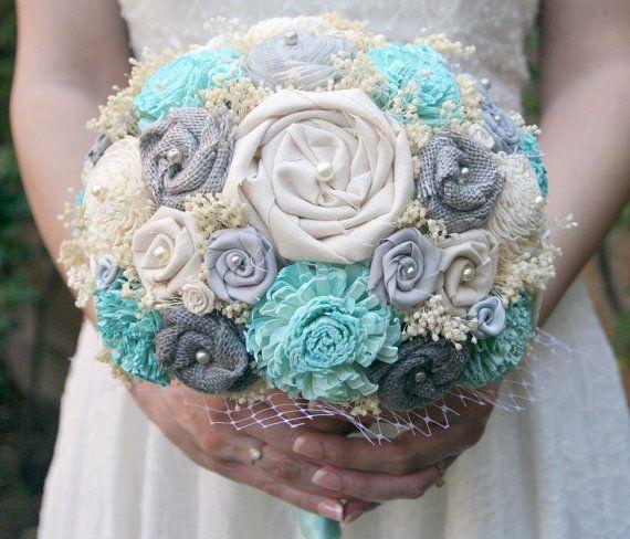 Handmade Grey & Tiffany Blue Aqua Bouquet - Sola Wood Flowers, Fabric Flowers, Burlap, Gray, Birdcage Netting - Alternative Wedding Bouquet