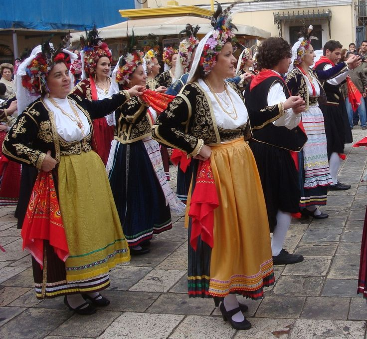 Dancers perform in traditional costumes in Corfu, Greece.