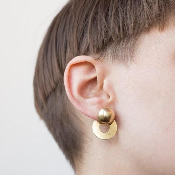Double Circle Statement Ear Jackets / Versatile Door-Knocker Earrings / Gold Plated, Sterling Silver