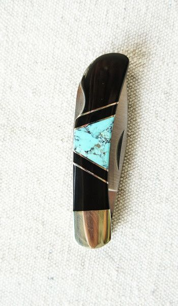 Black Amber and Turquoise Pocket Knife