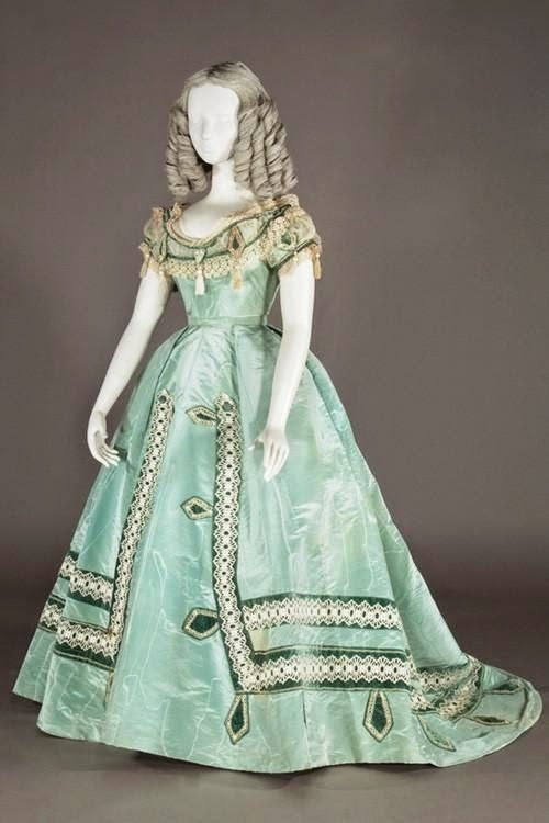 In the Swan's Shadow: Evening dress, ca. 1865.