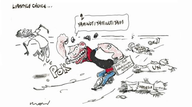 SOME ONE GIVE TONY ABBOTT A STRAIGHT-JACKET. HE REALLY NEEDS ONE. ACTUALLY THE WHOLE OF THE LNP NEED ONE. THE ONLY WAY FOR US TO BE SAFE IS TO VOTE THE LNP OUT AND SEND THEM PACKING TO POLITICAL OBLIVION. Cartoon by ALAN MOIR.