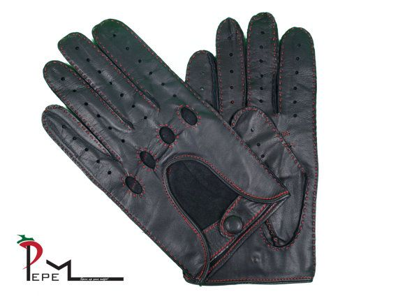Men's charcoal grey lambskin leather driving gloves  by PEPEMODA