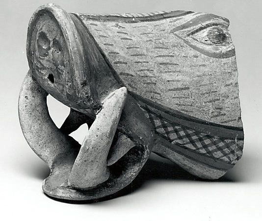 Vessel fragment in the form of a boars head