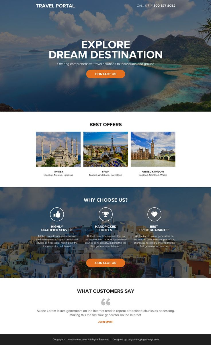 appealing travel portal mini landing page design