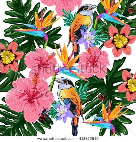 Tropical flowers and bird vector pattern