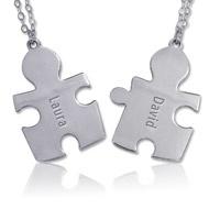 Zilveren gegraveerde puzzle ketting. Twee items 1 prijs! €27.95  http://www.mijnnaamketting.nl/Product.aspx?p=2219=200