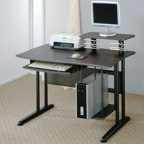 800244 Black metal computer student desk with marble finish top – Amb Furniture