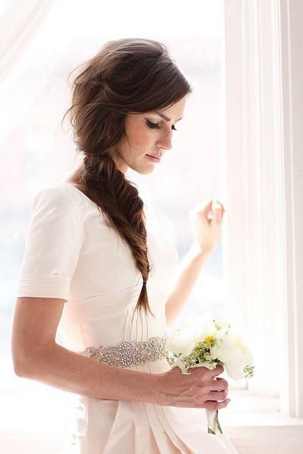 so prettyWedding Dressses, Bridesmaid Hair, Weddinghairstyles, Long Hair, Beautiful, Fishtail Braids, The Dresses, Wedding Hairstyles, Side Braids