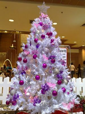 A Family Tree of Holidays - Christmas Trees: White Christmas Trees in Technicolor!