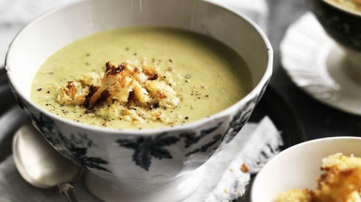 Cream of asparagus soup with parmesan croutons