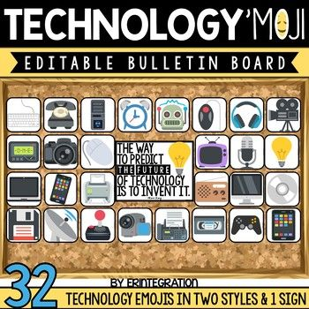Technology classroom decor editable bulletin board accent pieces. These 32 editable Technology decor bulletin board pieces make a great door decoration, technology bulletin board or display by device carts. Also includes a ready-made sign to display.
