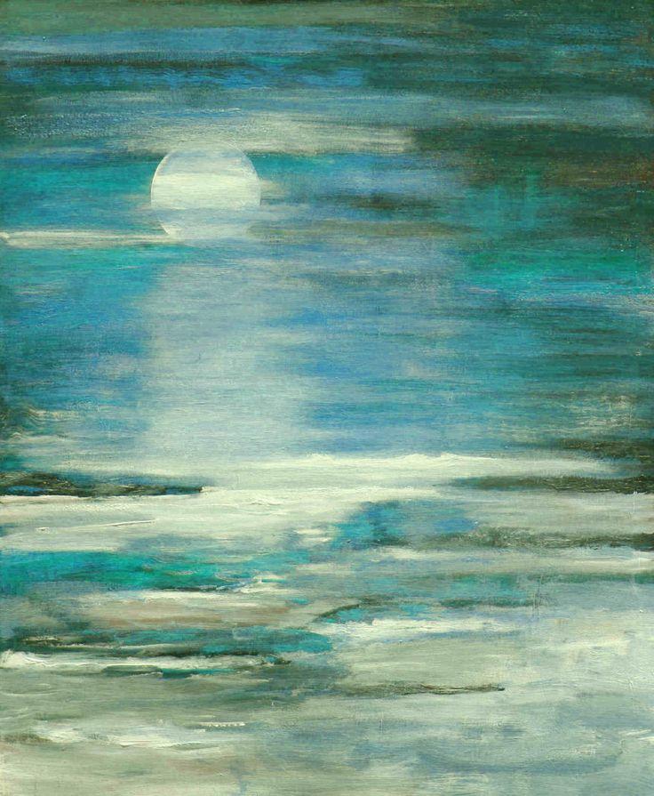 Seascape textured modern ocean blue painting by LaurenMarems