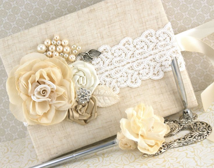 Wedding Guest Book and Pen Set Shabby Chic Vintage by SolBijou, $130.00