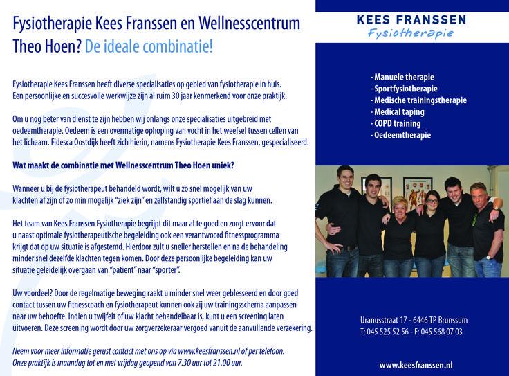 Advertentie Fysiotherapie Kees Franssen.
