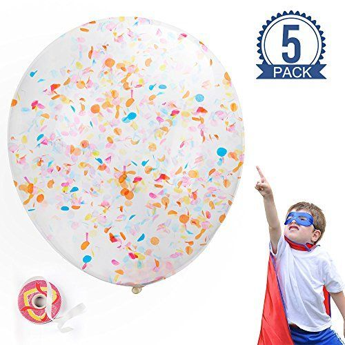 MESHA 36 Inch Confetti Balloons 5 Pcs Jumbo Party Balloons with Ribbon for Wedding Birthday Decorations Muticolor Crepe Paper Balloons Events Proposal. #MESHA #Inch #Confetti #Balloons #Jumbo #Party #with #Ribbon #Wedding #Birthday #Decorations #Muticolor #Crepe #Paper #Events #Proposal