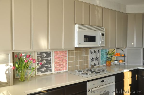Diy Temporary Backsplash Using Ikea Frames And Spoonflower Wallpaper Samples Updating House