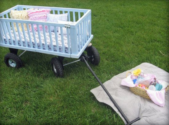 Pull Wagon: Creating by Cami made this adorable little blue pull wagon with her old crib.  Get Cami's wagon instructions>>