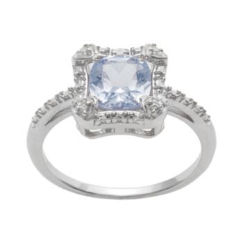 Sterling Silver Simulated Aquamarine & Diamond Accent Halo Ring