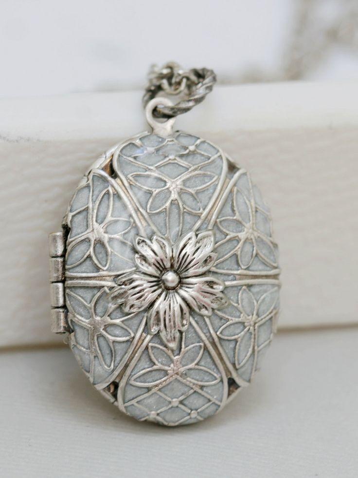 Locket, Silver Locket,Pearl White Locket,filigree locket necklace,photo locket ,vintage locket,Wedding Necklace,bridesmaid necklace. $79.99, via Etsy.