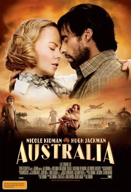 Australia - right during a time when nicole kidman seemed to be on such a botoxing binge that she couldn't emote. Glad that's over. LONG movie. Sadly Baz made beautiful Aussie somehow look like blue screen.  Best part - Hugh Jackman pours water over himself. The cat even looked up at the screen for that part.