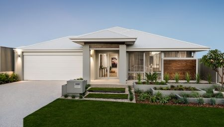 Striking elevation featuring stylish portico with cladding, double door entry, cladded feature panel and Colorbond roof.