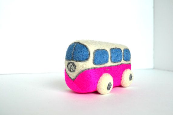 Needle Felted Pink Retro VW Van Natural Toys by ThingsByV on Etsy, $20.00
