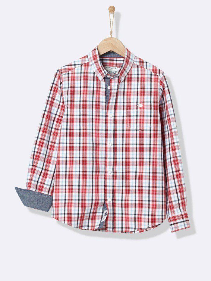 chemise a carreaux enfant Cyrillus en rouge et blanc, avec bas des manches en jean bleu